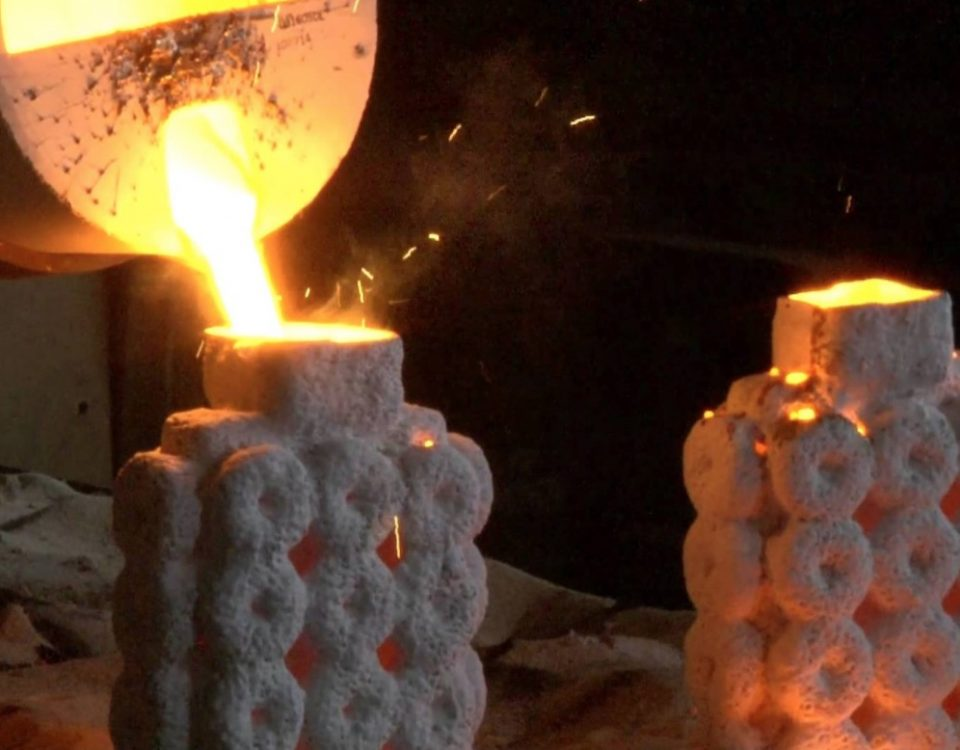 Investment casting mold pour